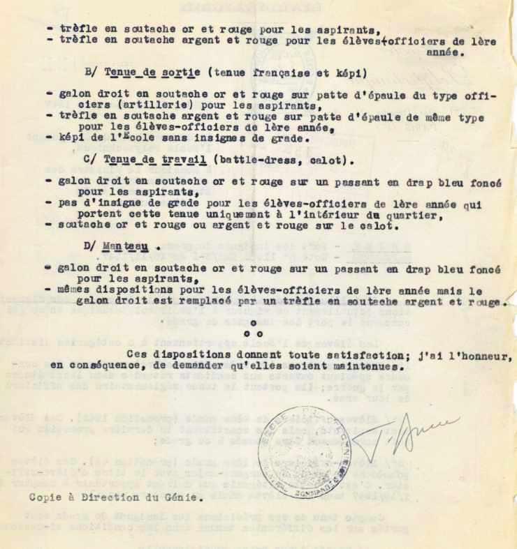 Lettre du général BRISAC sur les uniformes polytechniciens (verso)