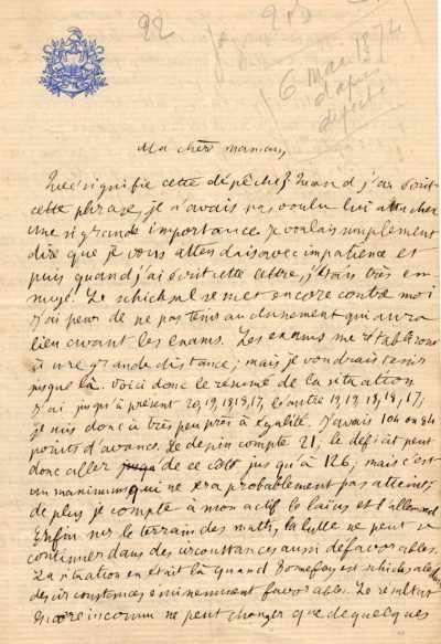 Henri POINCARE : Lettre à sa mère (original)