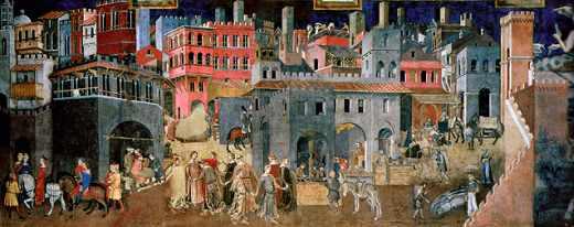 Les Effets du Bon Gouvernement, tableau d'Ambrogio Lorenzetti