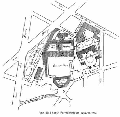 Plan de l'Ecole Polytechnique. Jusqu'en 1930.