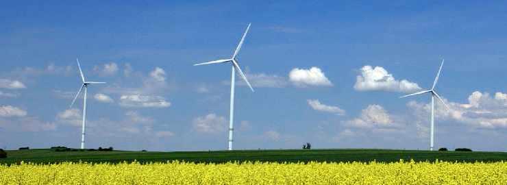 L'énergie est le premier secteur d'emploi des jeunes polytechniciens. Photos d'éoliennes