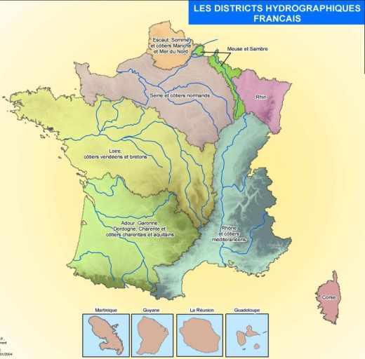 Les districts hydrologiques français