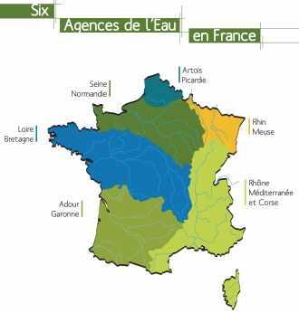 Les six agences de l'eau en France