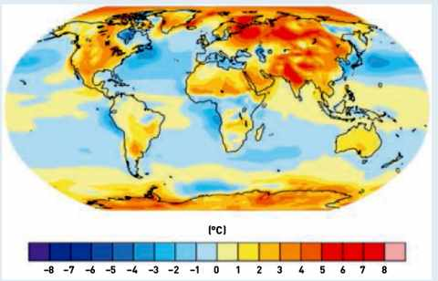 Différence entre la température simulée par les modèles de climat et celle estimée d'après les observations