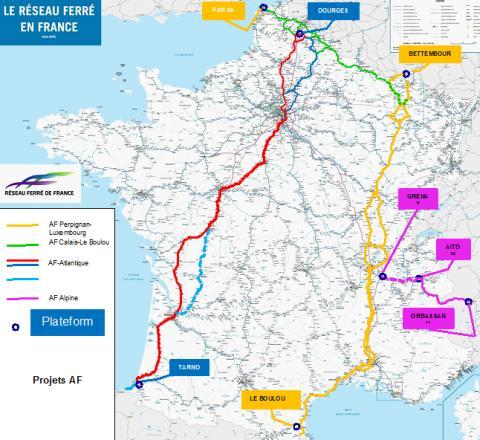 Carte des autoroutes ferroviaires en France