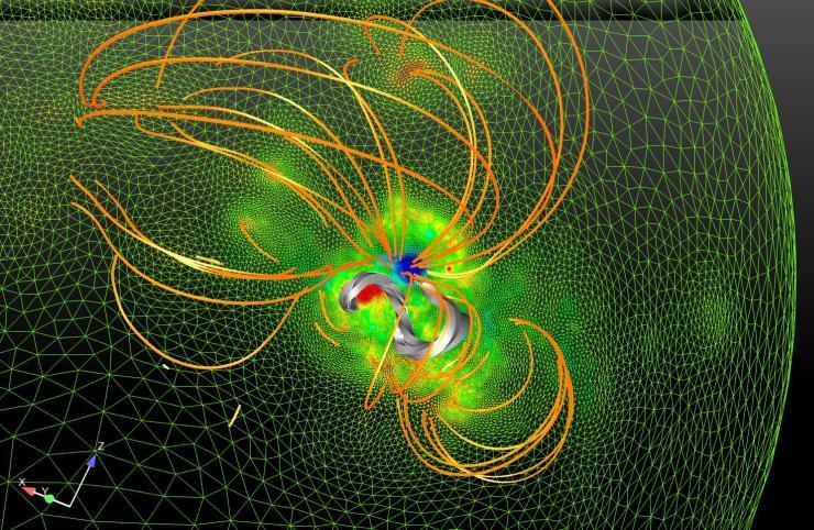 Modèle du champ magnétique dans la région où est survenue une éruption solaire majeure
