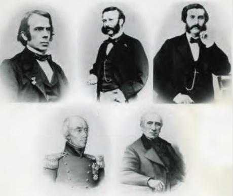 Cinq fondateurs du CICR : le Dr Louis Appia, Henri Dunant, Gustave Moynier, le général Dufour (1807) et le Dr Théodore Maunoir, 1863.