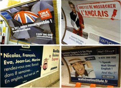 Quelques affiches dans le métro pour l'apprentissage de l'anglais