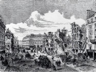 Les travaux de démolition effectués lors du percement de la rue Réaumur vers 1860.