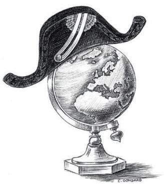 Le globe terrestre coiffé par un bicorne