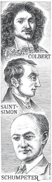 Portraits de Schumpeter, Saint-Simon et Colbert