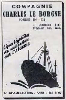 Publicité 1953 de la Compagnie Charles le Borgne dans la Jaune et la Rouge
