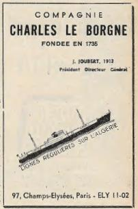 Publicité 1954 de la Compagnie Charles le Borgne dans la Jaune et la Rouge