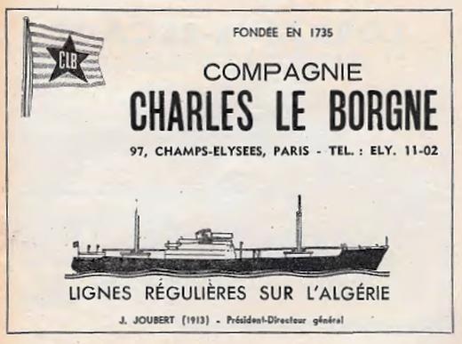 Publicité 1959 de la Compagnie Charles le Borgne dans la Jaune et la Rouge
