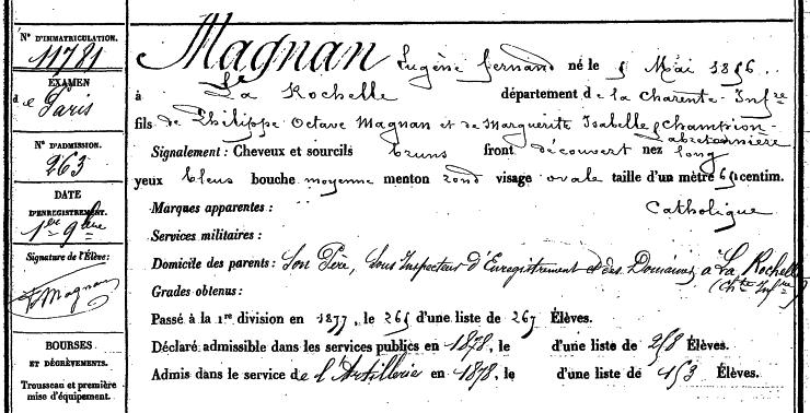 Fiche d'étatcivil d'Eugène Magnan (promotion 1876)