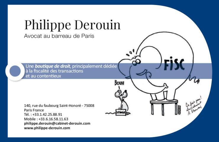 Carte de visite cabinet Philippe DEROUIN