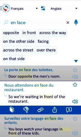 Une page de l'application Reverso contact