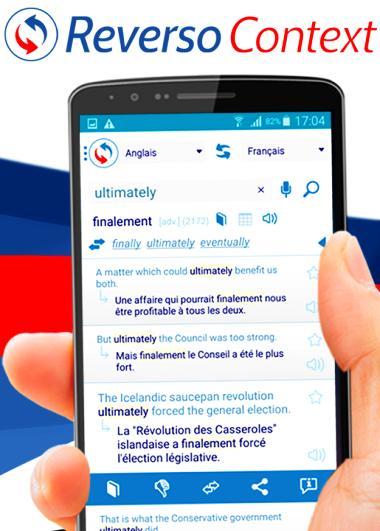 Autre page de l'application Reverso Contact