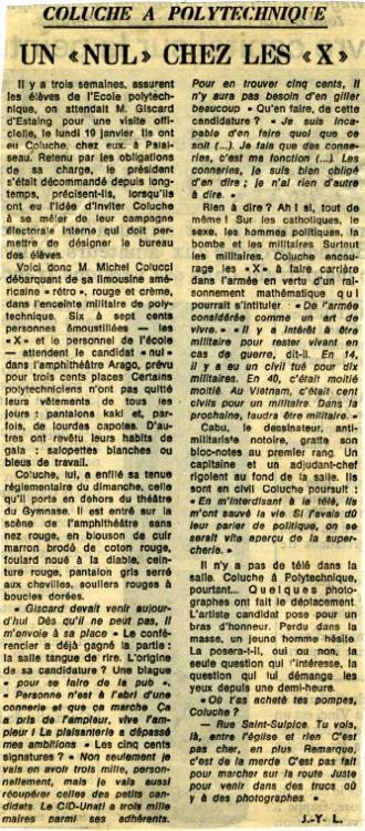 Coluche à polytechnique - Journal Le Monde