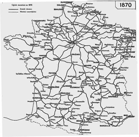 Le réseau ferroviaire en 1870 : l'étoile LEGRAND