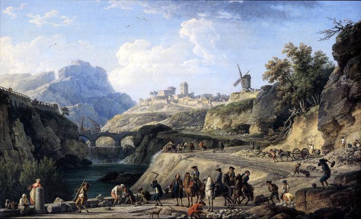 Construction d'un grand chemin dans un pays montagneux. Tableau de Joseph Vernet,