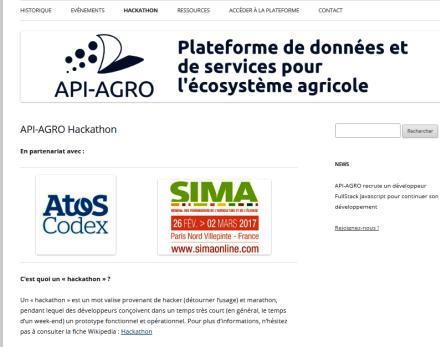 Ecran de la plateforme de données API-AGRO