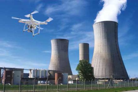 Drone sur une centrale nucléaire