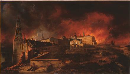 L'incendie de Moscou, panorama de Jean-Charles Langlois (1806) .