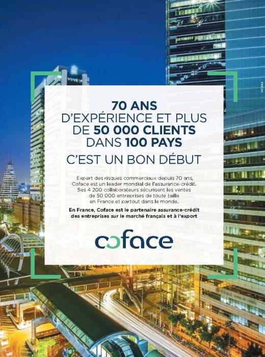 Page du publicité pour Coface