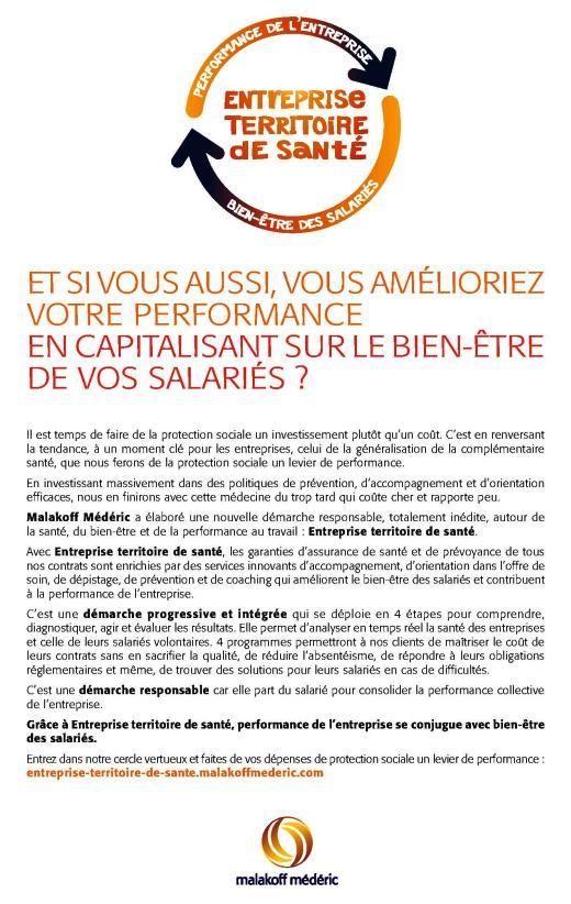 Page de publicité pour Malakoff Médéric