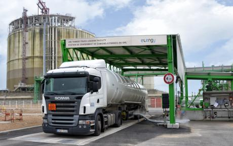 Chargement d'un camion-citerne en GNL