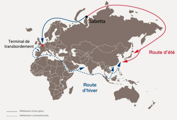 Routes d'été et d'hiver du GNL à partir de Yamal