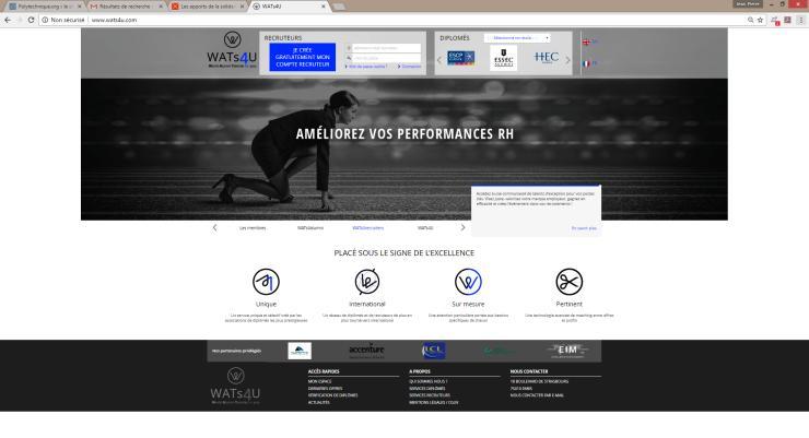 Ecran d'accueil du site WATs4U