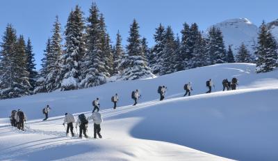 Déplacement en ski chez les chasseurs alpins.