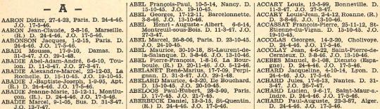 Première page de l'Annuaire des médaillés de la Résistance française.