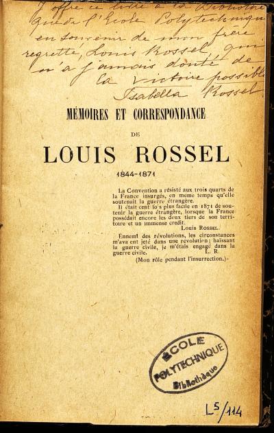 Mémoires et correspondance de Louis Rossel