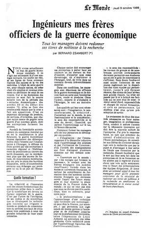 Article du Monde du 9 octobre 186 par Bernard ESAMBERT