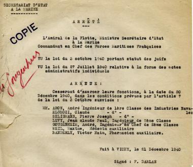 l'arrêté du 21 décembre 1940 sur le statut des juifs au sein de la Marine