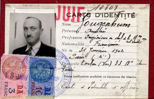 Care d'identité Gougenheim avec tampon juif