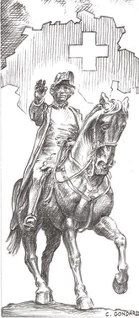 Dessin de Guillaume-Henri Dufour, à cheval,  par Claude Gondard (65).