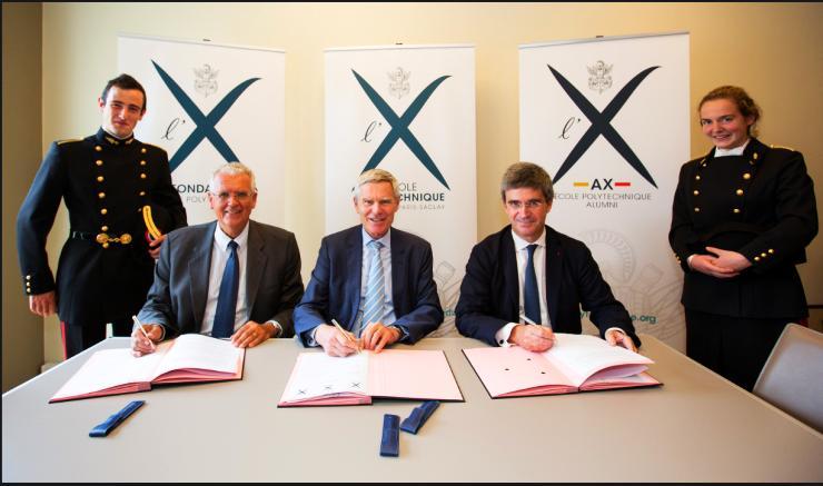 Signature de la charte tripartite AX, Fondation de l'X et École polytechnique