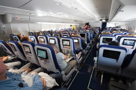 En cabine d'un avion