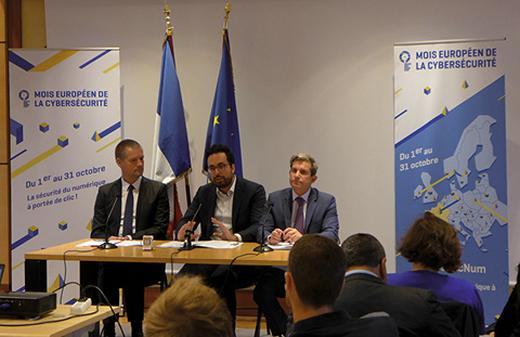 Conférence de presse de lancement du Mois européen de la cybersécurité le 2 octobre 2017.