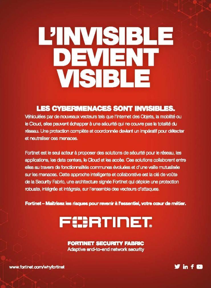 Page de publicité pour Fortinet