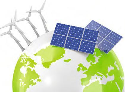 Le globe terrestre avec les énergies renouvelables