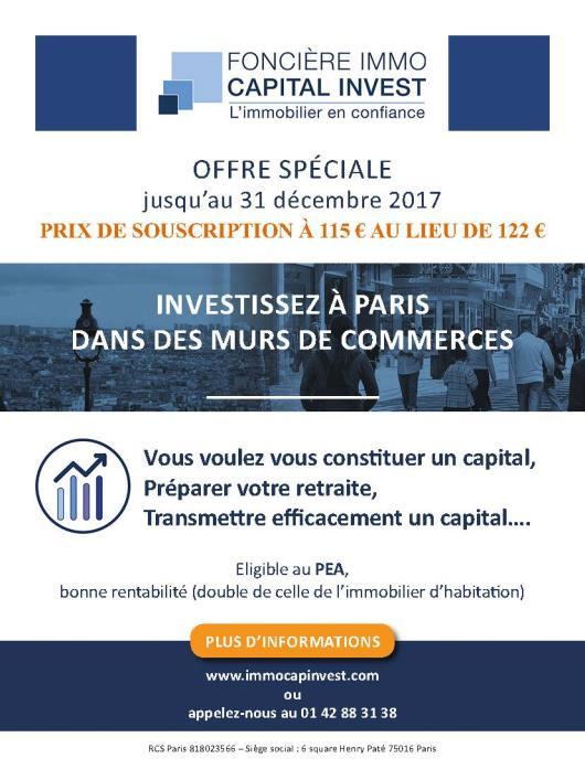 Page de publicité pour la Foncière Immo Capital Invest