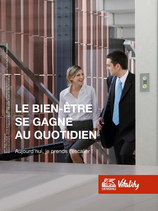 Page de publicité pour le programme Vitality de Generali
