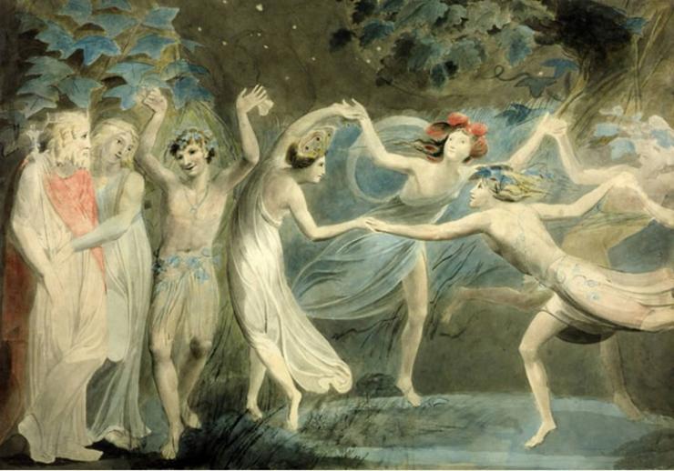 Obéron, Titania et Puck dansant avec les fées, par William Blake, vers 1786 © Tate Britain, Londres