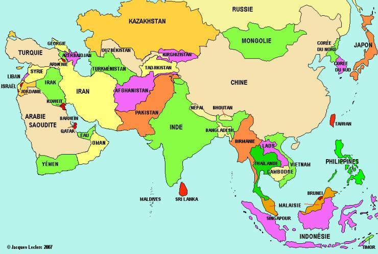 Carte des pays en -stan