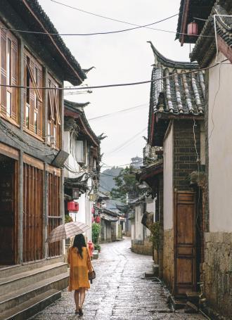 Jour de pluie dans la vieille de ville de Lijiang, Yunnan, Chine.